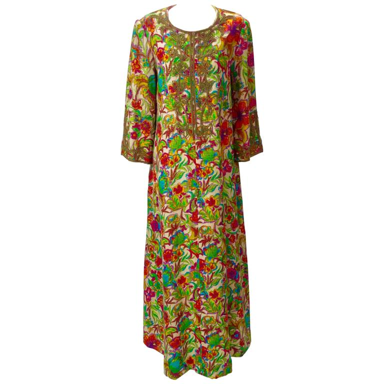 Floral Multi-Colored Embroidered Kaftan OS, 1970s   For Sale
