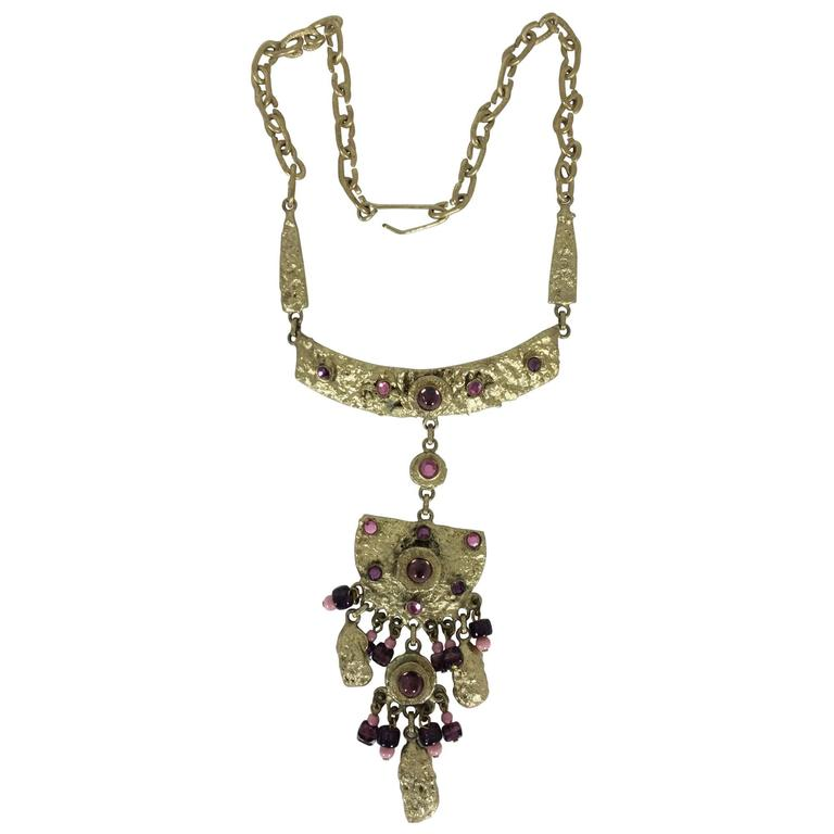 Henry Perichon Gilded metal renaissance style necklace 1960s 1