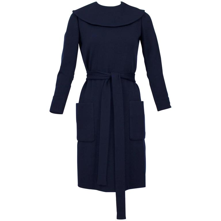 1960s Norman Norell Midnight Blue Wool Jersey Dress