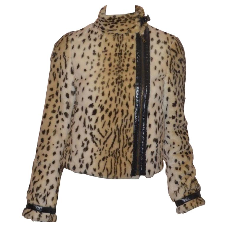 Dolce & Gabbana Faux Fur Leopard Jacket For Sale