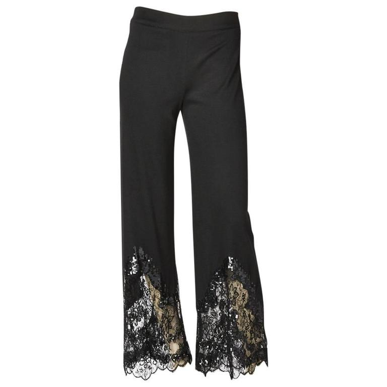 Valentino Pant With Sequin and Lace Detail