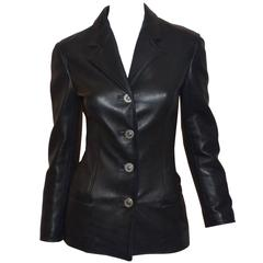 Gianni Versace Vintage Leather Medusa Button Jacket