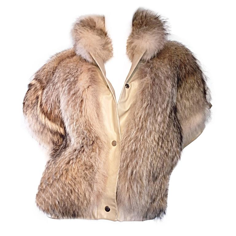 Amazing & Rare Vintage Coyote Fur + Leather Rocker Vest Jacket Sensational !
