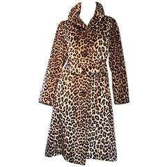 Rare 1960s Jean Patou by Karl Lagerfeld Faux Fur Leopard Vintage Swing Jacket