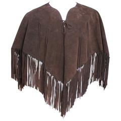 1970s Chocolate Brown Suede Poncho
