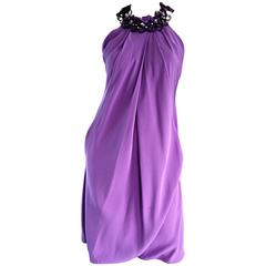 Chic Pamella Roland Light Purple Lilac Beaded Bib Collar Bubble Grecian Dress