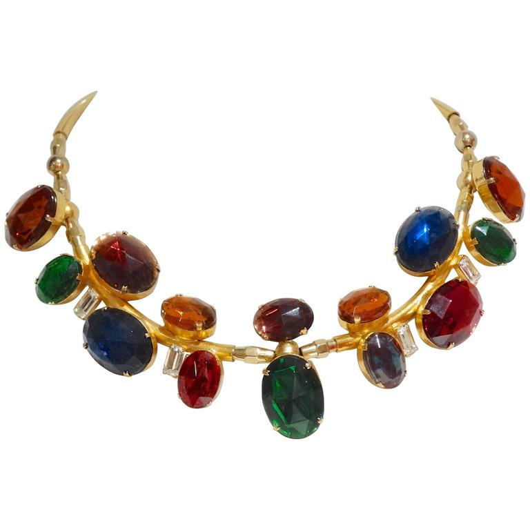 Rare 1980s Emilio Pucci Gem Collar Necklace For Sale