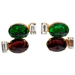 1980s Emilio Pucci Gem Earrings with Rhinestones