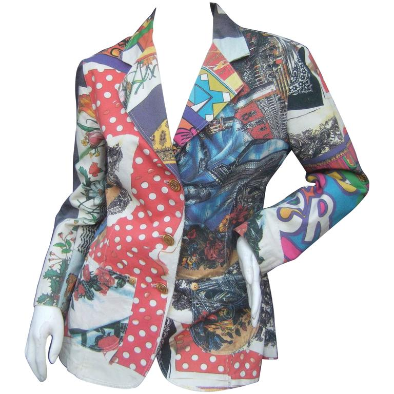 Moschino Mod Op Art Graphic Print Cotton Jacket ca 1990s