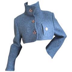 Geoffrey Beene Blue Boiled Wool Bolero