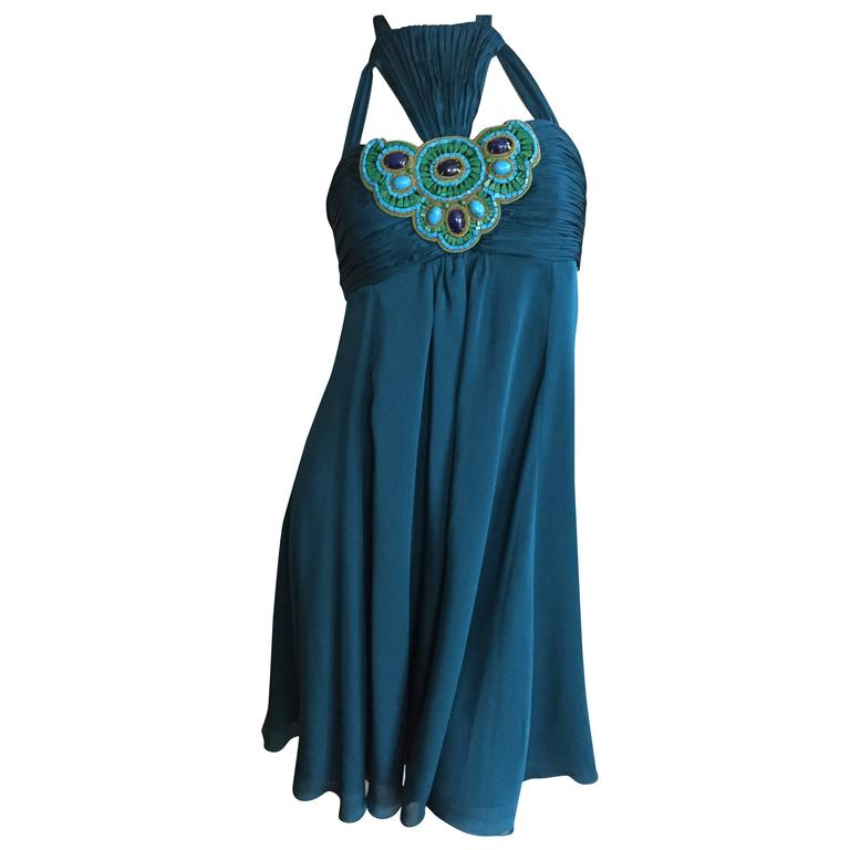 Andrew Gn Paris Silk Dress w Turquoise & Malachite Jeweled Bust For Sale