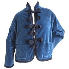 Romeo Gigli Vintage Blue Velvet Smoking Jacket Unisex
