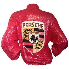 Rare Vintage Jeanette Kastenberg Porsche Sequin One - Off Sequin Varsity Jacket