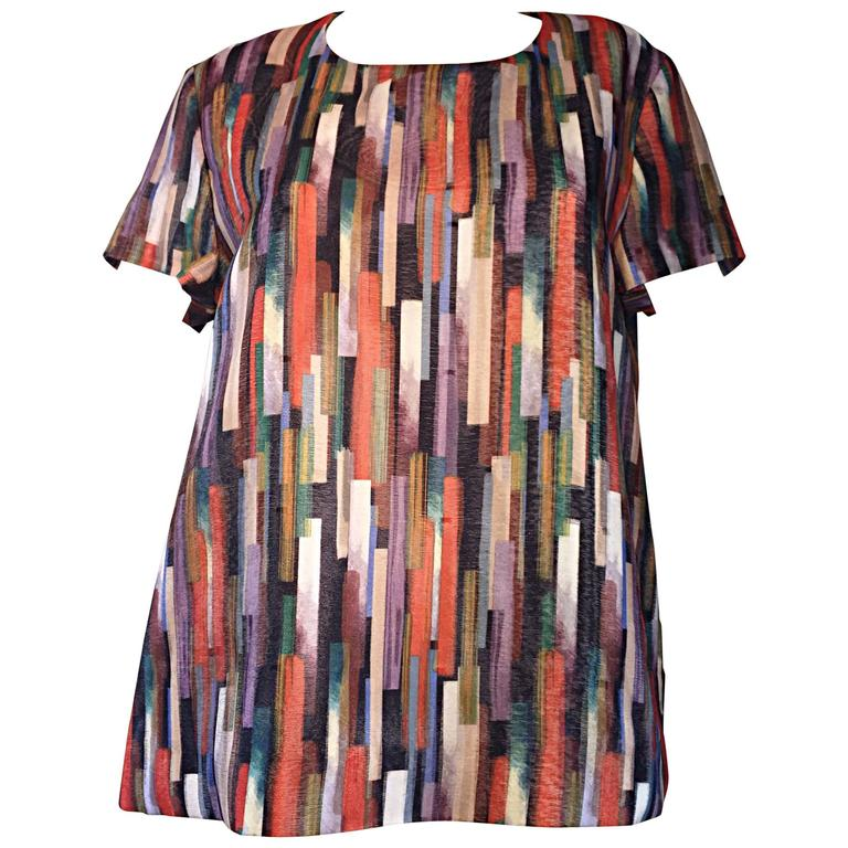 Gerard Darel Multi Color Abstract Silk Trapeze Swing Top / Blouse Made in France 1