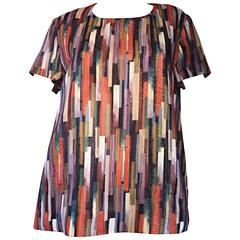 Gerard Darel Multi Color Abstract Silk Trapeze Swing Top / Blouse Made in France