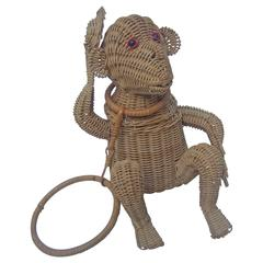 Whimsical Wicker Monkey Novelty Handbag ca 1960