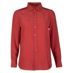 Saint Laurent Paris Red Silk Long Sleeve Shirt M