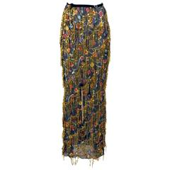 Voyage Couture Black Floral Sheer Maxi Skirt with Gold Sequin Fringing