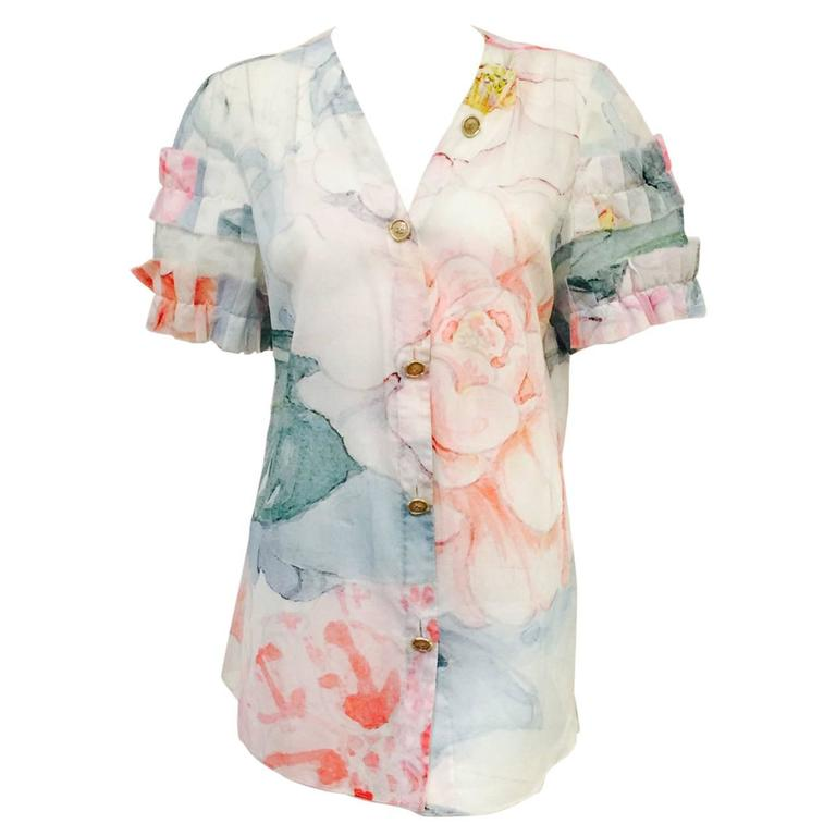 Chanel Spring 100% Cotton Impressionist Floral Print Short Sleeve Blouse  For Sale