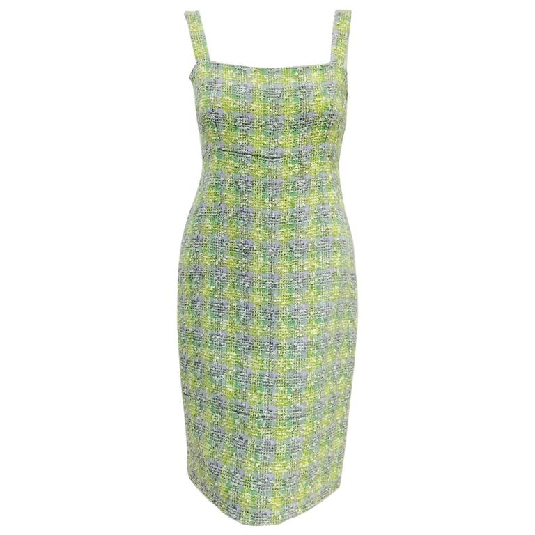 New Chanel Spring 2014 Sleeveless Plaid Boucle Sheath Dress For Sale