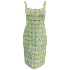 New Chanel Spring 2014 Sleeveless Plaid Boucle Sheath Dress