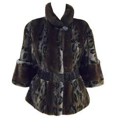Stunning Saga Furs Royal Belted Leopard Print Mink Jacket