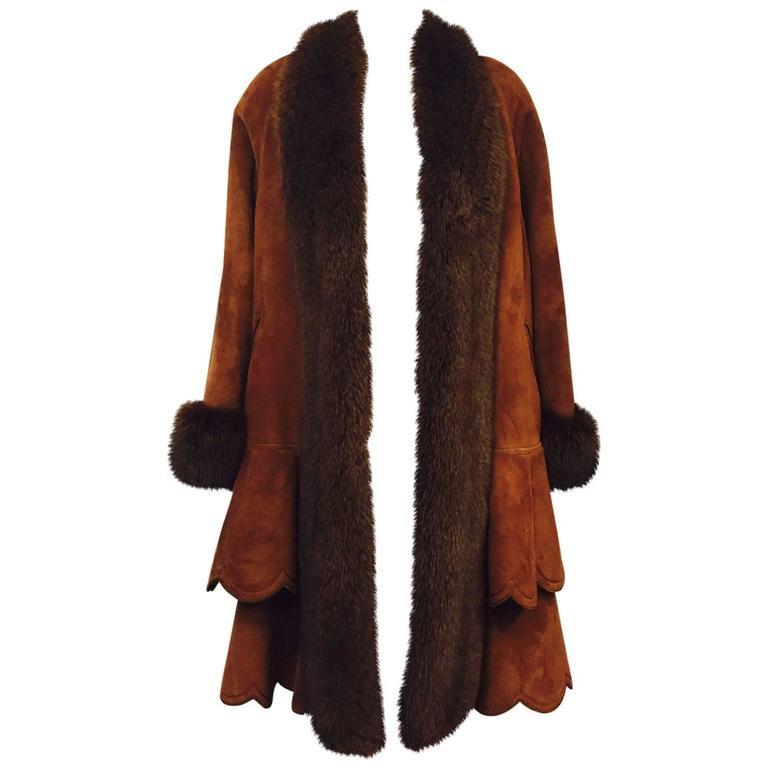 Christia Cognac Shearling Swing Coat With Fox Trim and Scalloped Tiered Hem 1
