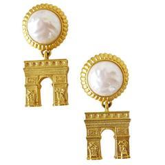 1980's Karl Lagerfeld Gold-Tone and Pearl Arc de Triomphe Pierced Earrings