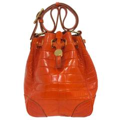 Ralph Lauren Orange Alligator Bucket Bag With Pochette