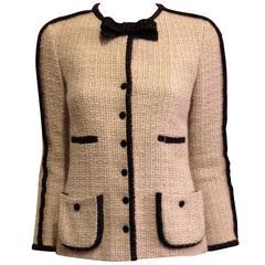 Chanel Cream Tweed Jacket with Black Trim