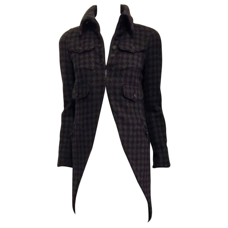 Chanel Charcoal Grey Houndstooth Coat