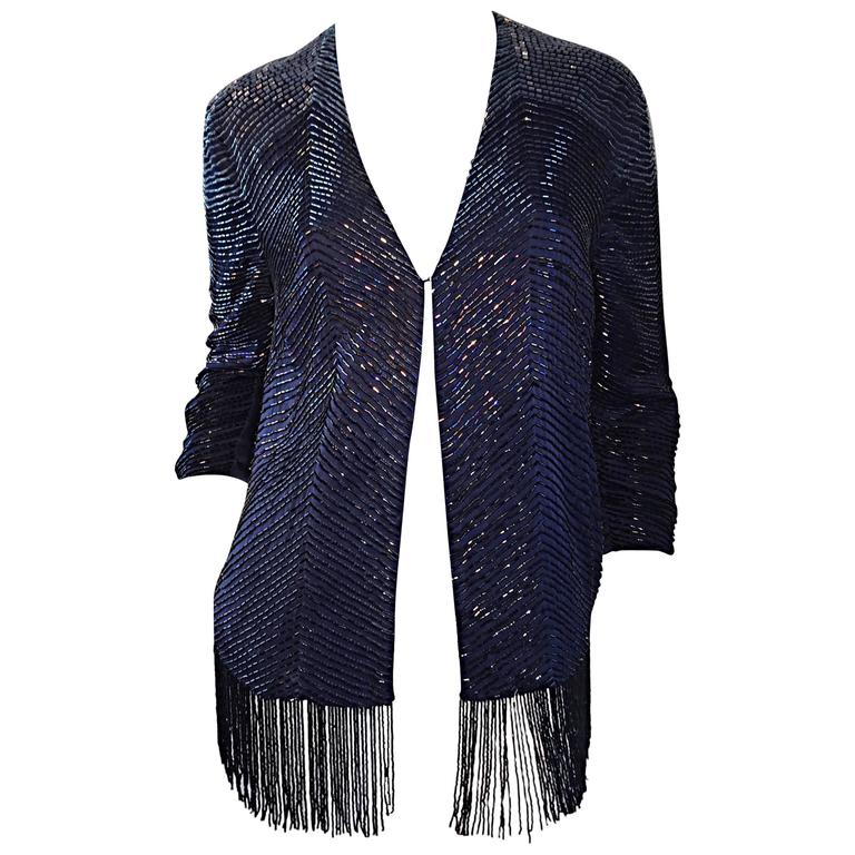 Beautiful Vintage Navy Blue Glass Beaded Silk Fringed Cardigan Jacket Top