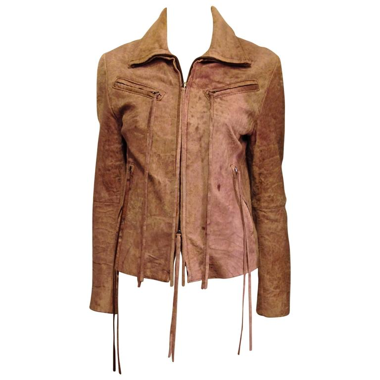 Ann Demeulemeester Brown Distressed Leather Jacket