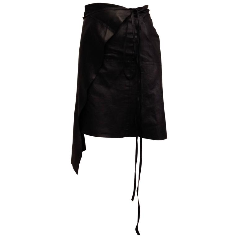 Ann Demeulemeester Black Leather Wrap Skirt For Sale