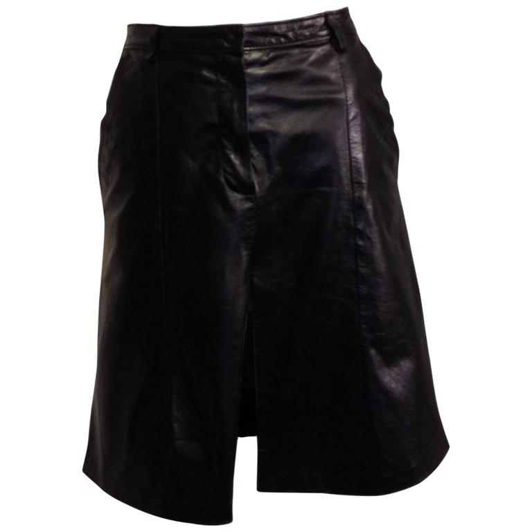 demeulemeester black leather slit skirt for sale at