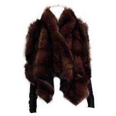 Rick Owens Brown Fishercat Fur Wrap Jacket