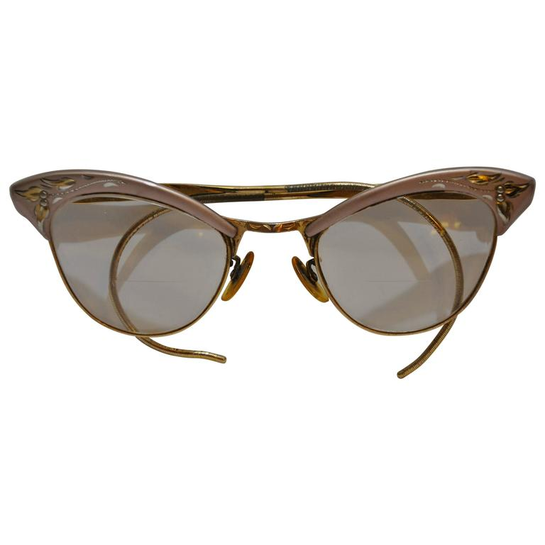 """Detailed Etched Lavender Hardware Frames Accented with 1/10 12K """"Cat Eyes"""""""