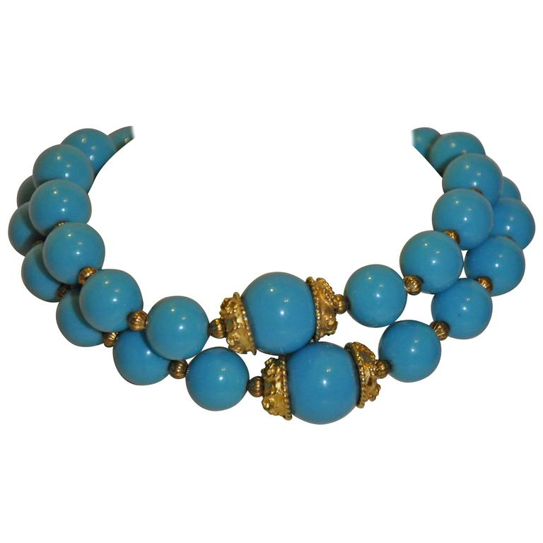 Kenneth Jay Lane Double Strand Turquoise and Vermeil Gold Tone Necklace For Sale