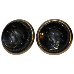 Polished Gold Tone Hardware with Black Pour Glass Cufflinks