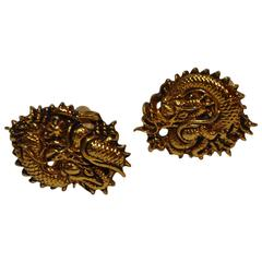 "Signed Gilded Gold Vermeil Tone Hardware ""Dragon"" Cuff Links"