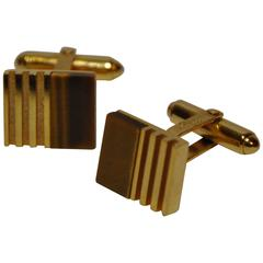 "Christian Dior Thick Polished Gold Vermeil with ""Tiger Eye"" Cufflinks"
