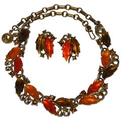 Rare Lisner Gilded Gold Tone Hardware with Multi-Color Bakelite Necklace Set