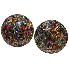 """Clear Lucite Accented with """"Confetti"""" Earrings"""