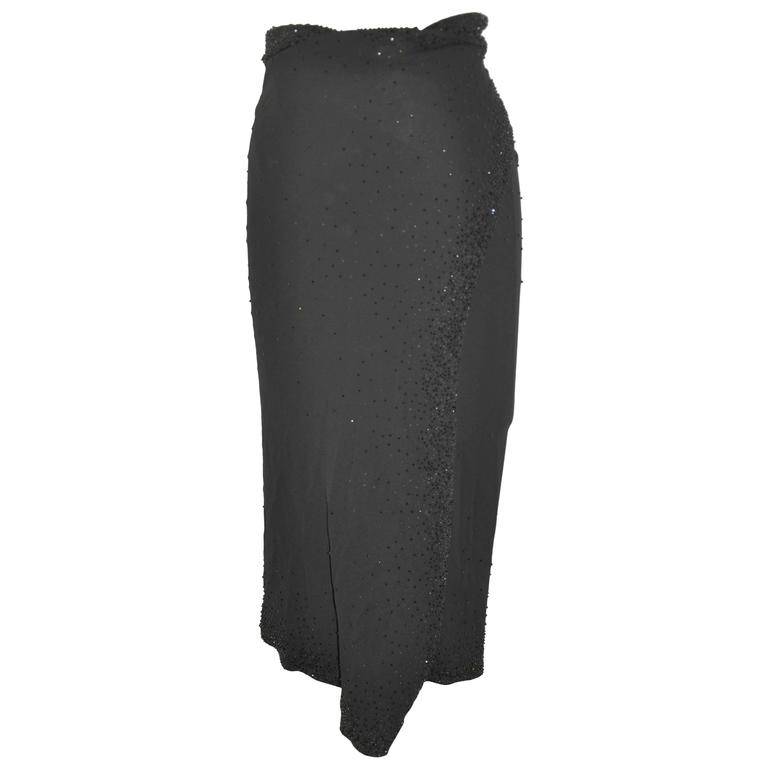 Donna Karan Elegant Black Silk Jersey Evening Wrap Skirt with Bead Accents