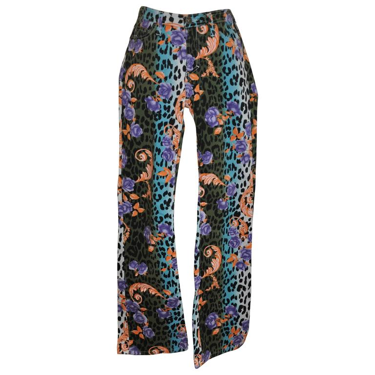 Gianni Versace Bold Multi-Color Leopard with Floral Print Stretch Jeans 1