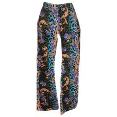 Gianni Versace Bold Multi-Color Leopard with Floral Print Stretch Jeans
