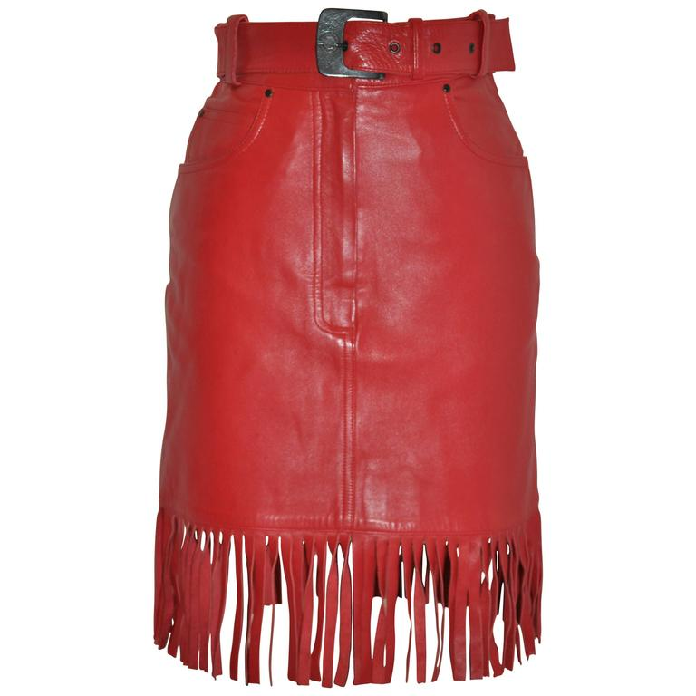 """Claude Montana """"State of Claude Montana"""" Red Fringe Lambskin Belted Skirt"""
