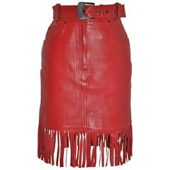 "Claude Montana ""State of Claude Montana"" Red Fringe Lambskin Belted Skirt"