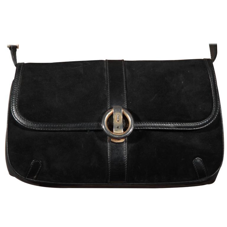 Gucci Italian Vintage Black Suede Shoulder Bag Clutch