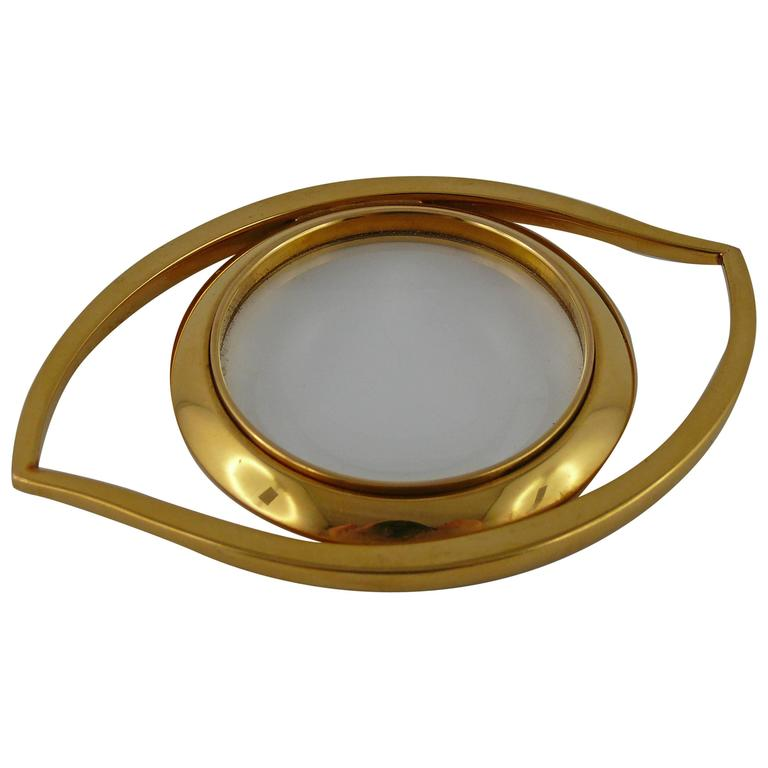 Hermès Vintage Cleopatra Eye Gold Toned Desk Magnifying Glass Paperweight gi4TpB
